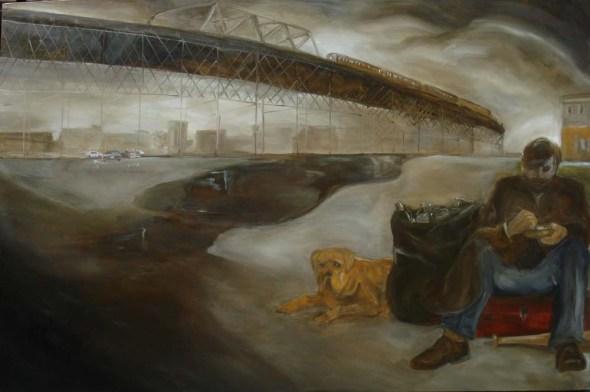 Man, Dog, Train, Bridge, Baseball Bat (2011)
